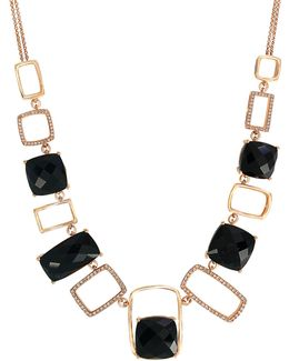 14k Yellow Gold Onyx And 0.55tcw Diamond Necklace