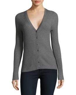 V-neck Ribbed Cardigan