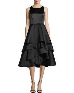 Sleeveless Layered Ruffle Fit-and-flare Dress