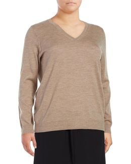 Plus Wool V-neck Top