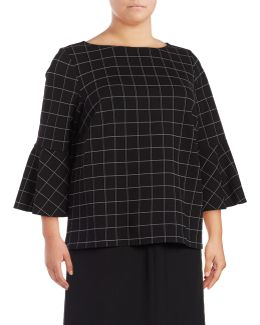 Plus Windowpane Bell Sleeve Top