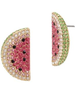 Crystal Watermelon Slice Earrings