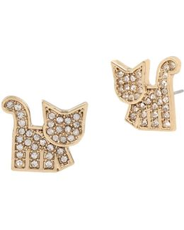 Crystal Studded Cat Earrings