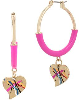 Graffiti Hearts Hoop Earrings