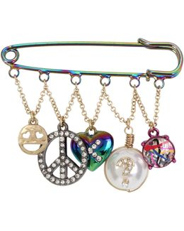 Charm Safety Pin Brooch