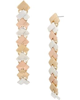 Tri-tonal Chevron Linear Earrings