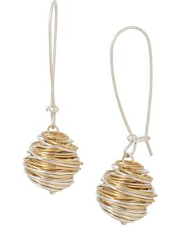 Two-tone Plated Wrapped Drop Earrings