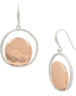 Two-tone Plated Circular Drop Earrings
