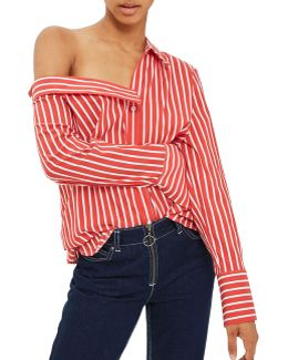 Striped Cold Shoulder Cotton-silk Shirt By Boutique