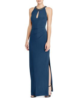 Jersey Keyhole Floor-length Gown
