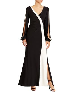 Colourblocked Jersey Floor-length Gown