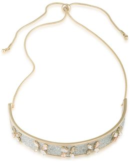 Anything Goes Goldtone Glitter Inlay Choker Necklace