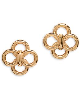 Goldtone Circular Stud Earrings