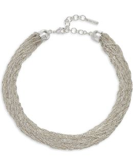 Forget Me Knot Silvertone Stranded Chain Necklace