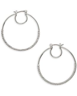 Forget Me Knot Silvertone Circular Hoop Earrings