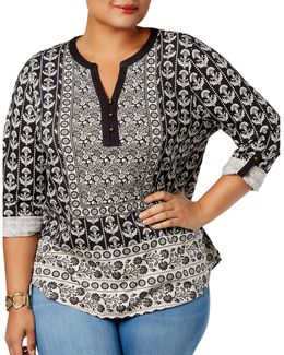 Plus Mixed-print Split Neck Top