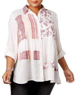Plus Patchwork Craze Collared Shirt