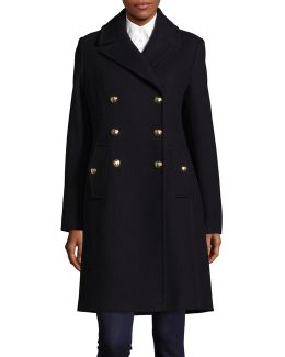 Wool-blend Double-breasted Officer Coat