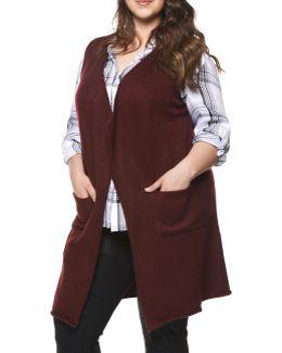Plus Sleeveless Knit Cardigan