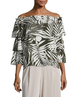 Printed Off-shoulder Tiered-sleeve Top