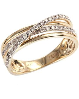 14k Yellow Gold Layered Ring With 0.29 Tcw Diamonds