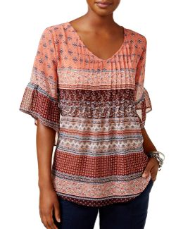 Pintuck Pleated Peasant Top