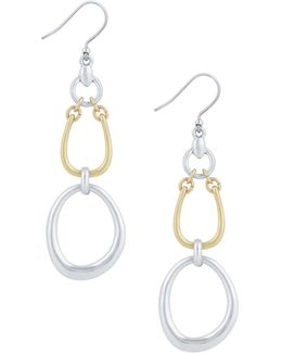 New West Two-tone Chain Link Dangle Drop Earrings