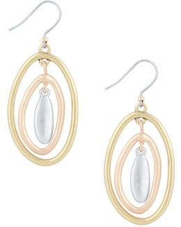 New West Tri-tone Orbital Dangle Drop Earrings