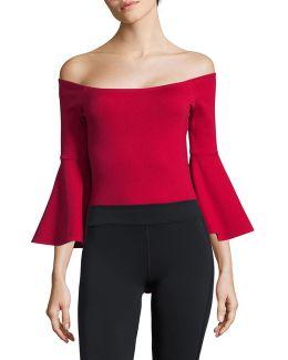 Off-shoulder Bell-sleeve Bodysuit