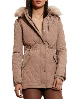 Faux Shearling Hooded Quilted Anorak