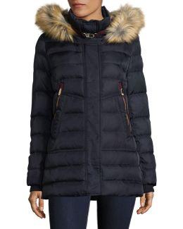Zip-pocket Down Jacket With Faux Fur Hood