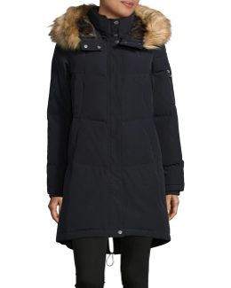 Down Parka With Layered Faux Fur Neckline