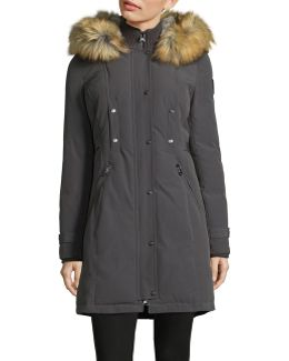 Buckled-tab Down Parka With Faux Fur Hood