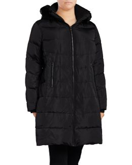 Down Walker Coat With Faux Fur Trim