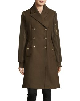 Wool-blend Combo Officer Coat