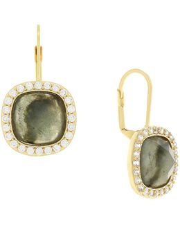Crystal Stone Square Lever Back Earrings