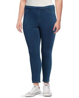 Plus Twill Denim Leggings