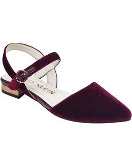 Odell Velvet Open Back Flat Sandals