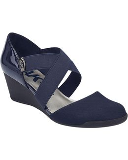 Teaberry Two-piece Mary Jane Wedge Sandals