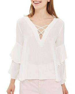 Lattice Front Double Sleeve Blouse