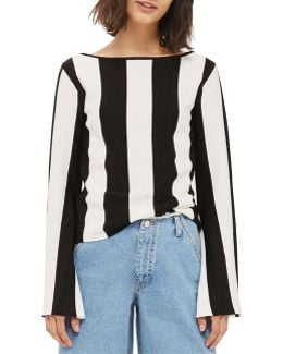 Stripe Flare-sleeved Top