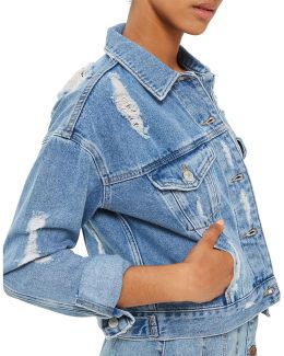 Moto Fitted Rip Denim Jacket