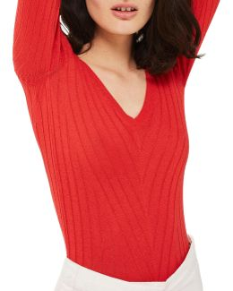 Wide V-neck Ribbed Knitted Top