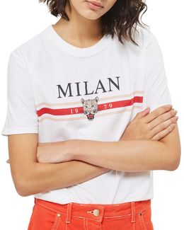 Milan Slogan T-shirt By Tee & Cake