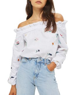 Embroidered Poplin Bardot Top
