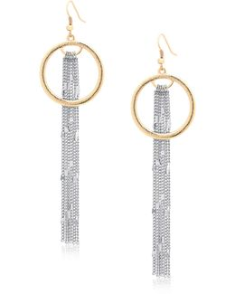 Hoop And Linear Chain Drop Earrings