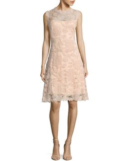 Cap Sleeve Fit-and-flare Lace Cocktail Dress