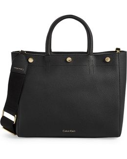 Pebbled Button-trim Zip Tote