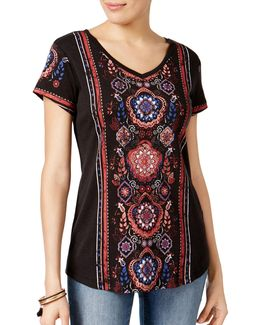 Petite Printed Shirttail Hem Top