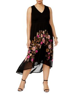 Plus Floral-print Sheer-hem Dress